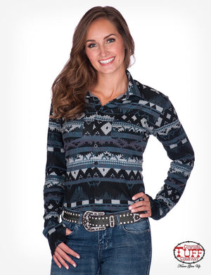Women's Cowgirl Tuff - Slate Aztec Pullover Button-up Shirt