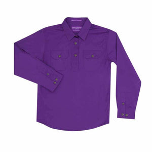 Girl's Just Country Kenzie 1/2 Button Shirt Purple - Diamond K Country