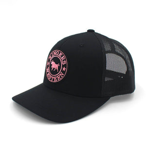Ringers Western - Black Signature Bull Trucker with Black & Pink Patch