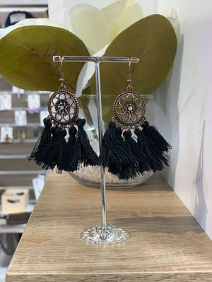 Black - Flower Tassel Earring
