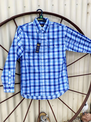 Men's Bisley Blue  & White Check Shirt BS7869
