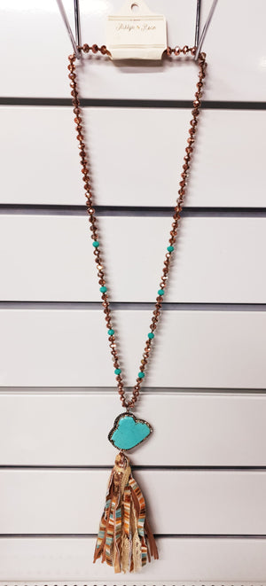 La Vie Boheme Tassel and Turquoise Pendant Necklace