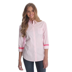 Women's Wrangler George Strait Pink and White Shirt