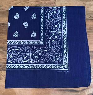 Dark Blue Paisley Design Bandana - 100% Cotton