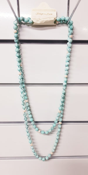 Light Blue Stone and Beaded Necklace