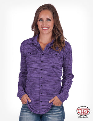 Women's Cowgirl Tuff - Sport Lux Athletic Purple Jersey Faux Button-Down