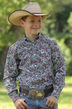 Boy's Cinch Dai Print Shirt - Diamond K Country
