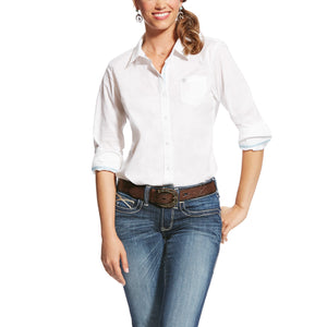 Women's Ariat Kirby Stretch White Long Sleeve Shirt
