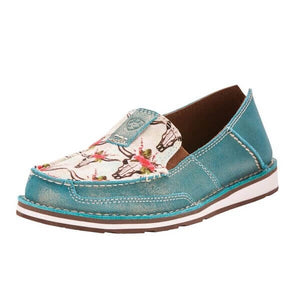 Women's Ariat Cruiser Shimmer Turquoise Steers and Roses
