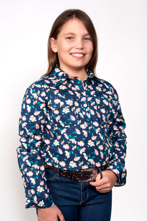 Girl's Just Country Harper Half Button Pattern Shirt