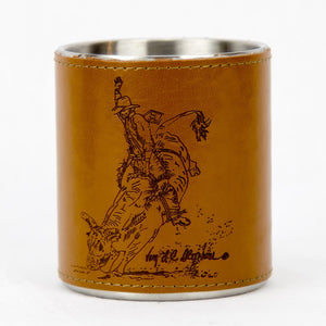 Brigalow Leather Bound Mug - Bull Rider