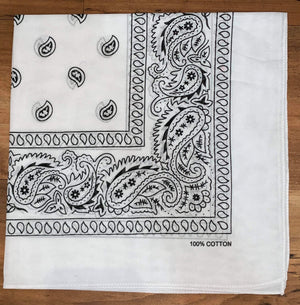 White Paisley Design Bandana - 100% Cotton