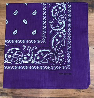 Dark Purple Paisley Design Bandana - 100% Cotton