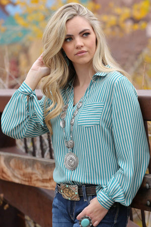 Women's Cruel Denim Green and White Striped Blouse