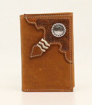 Ariat Tri-fold Embossed Tab with Rawhide Knot  Concho  Wallet