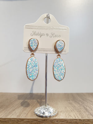 White Glitter Sparkling and Sweet Drop Earrings