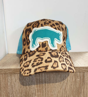 Girl's Sparkle Pig  Leopard Print and Turquoise Mesh Cap