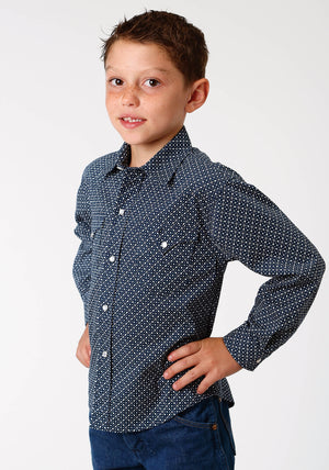 Boy's Roper Blue L/S Shirt - West Made Collection