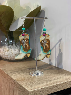 Cactus Lace Leather - Boot Earrings - Cactus