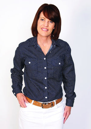 Women's Just Country Abbey Full Button Navy and white heart Shirt