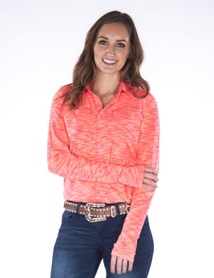 Women's Cowgirl Tuff - Cosmic Coral Stripe Sport Jersey Pullover Button-Up