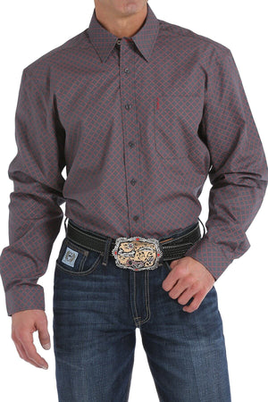 Men's Cinch Modern Fit Charcoal and Red Diamond Print Shirt