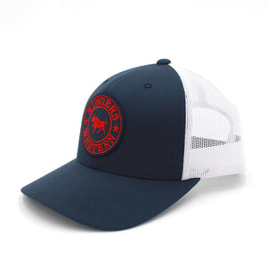 Ringers Western - Navy & White Signature Bull Trucker Cap with Red & White Patch