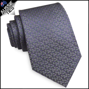 Men's Silver Reptile Skin with Purple Highlights Necktie