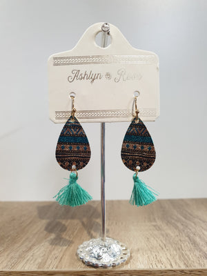 Dainty Details Metal and Fringe Earrings Turquoise