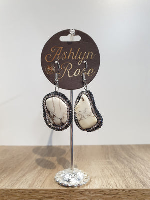 Silver Cream Stone and Clear Crystal Drop Earrings