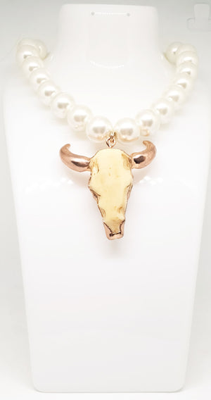 Paisley May Boutique Pearl & Long Horn Necklace #4