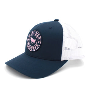 Ringers Western - Navy & White mesh Signature Bull Trucker Cap with Navy & Pink Patch