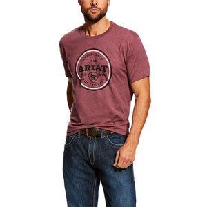 Men's Ariat Emblem Burgundy Tee