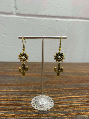 Vintage Flower and Cactus Gold Drop Earrings