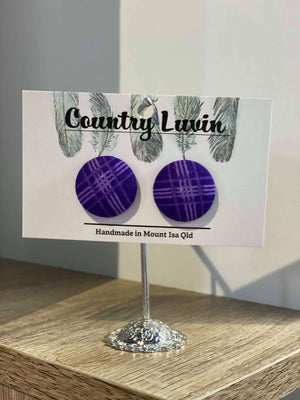 Country Luvin' - 23mm Fabric Button Earring – Purple Gingham