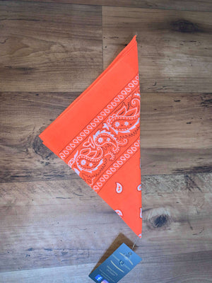 Hi-Vis Orange Paisley Design Bandana - 100% Cotton