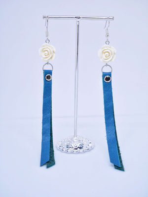 Cactus Lace Leather - Rose Drop Earrings - Blue