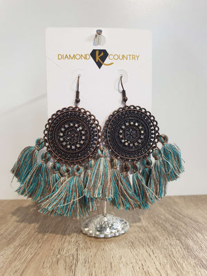 Vintage Boho Round Dangle Tassel Earrings