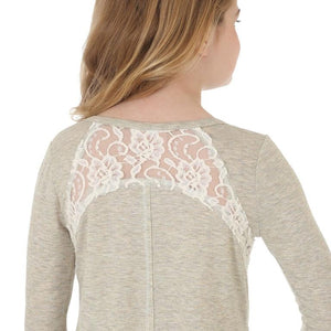 Girl's Wrangler Horse Graphic Top Lace Insets L/S Shirt - Diamond K Country