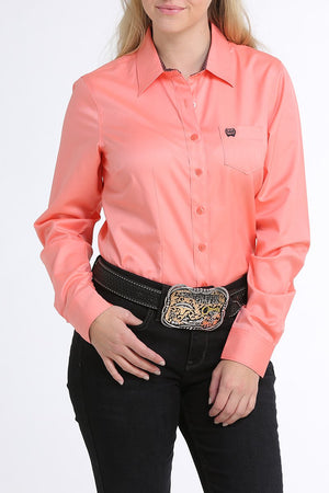 Women's Cinch Solid Tencel Pink Long Sleeve Shirt