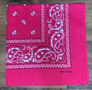 Hot Pink Paisley Design Bandana - 100% Cotton