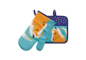 Thomas Cook Oven Mitt & Pot Holder Set - Horse