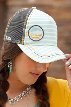 Women's Cruel Denim Light Blue Stripe Trucker Cap