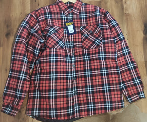 Men's Bisley Orange Check Quilted Flannel Jumper