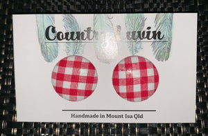 Country Luvin' 23mm - Red Gingham Fabric Earring