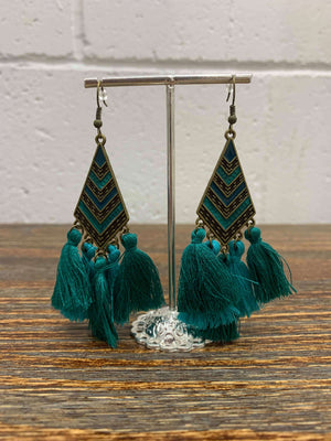 Bohemian Diamond and Tassel Two Tone Earrings