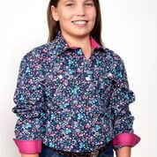 Girl's Just Country Harper 1/2 Button Pattern Navy Shirt