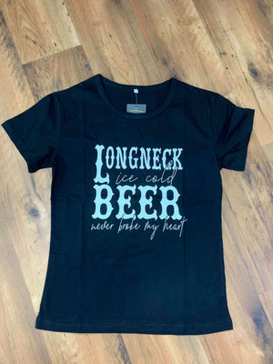 Black Longneck Ice Cold Beer Never Broke My Heart Graphic Tee Shirt