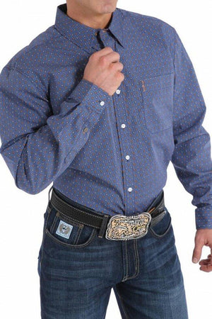 Men's Cinch Modern Fit Blue Patterned Shirt