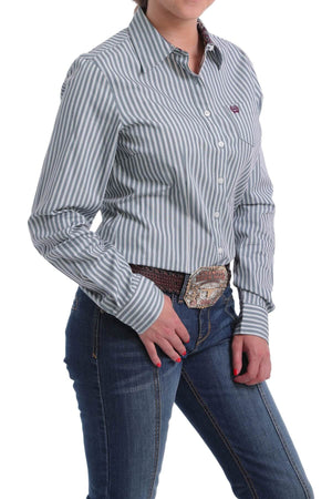 Women's Cinch Teal And White Striped Longsleeve Shirt
